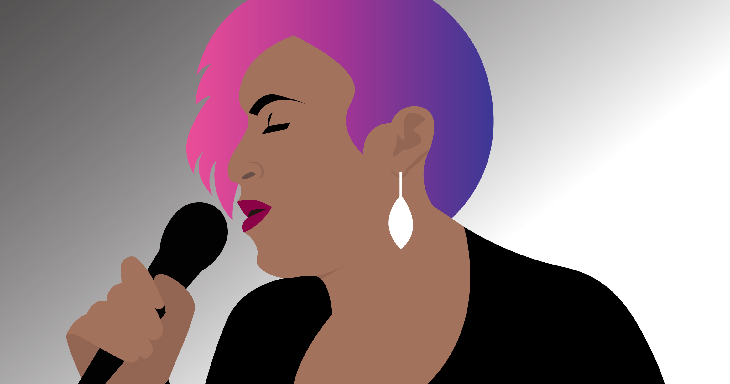 Woman With Pink Hair Speaking into Microphone