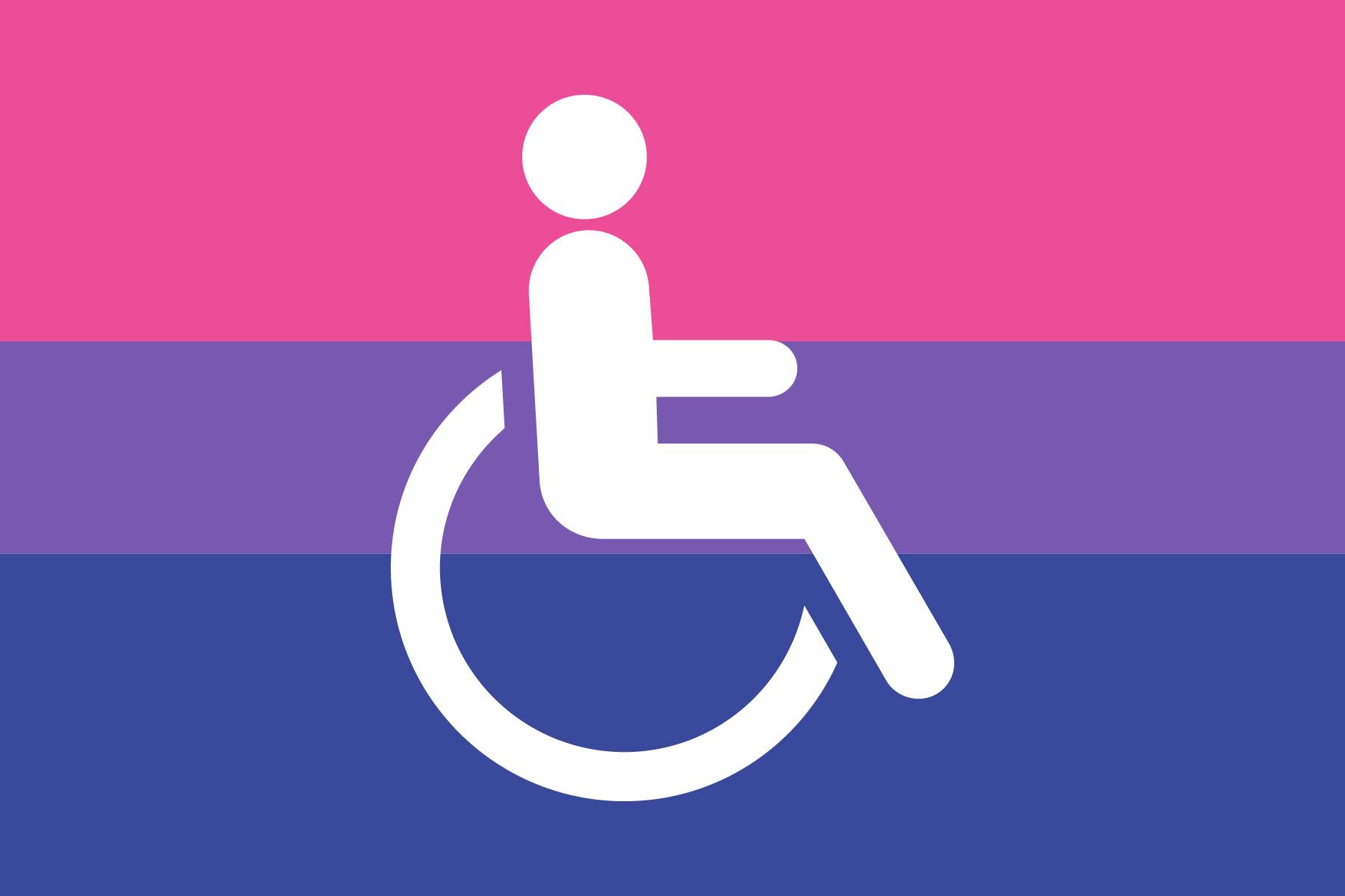Bi flag behind white wheelchair symbol