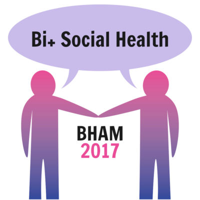 Two figures in bi colors holding hands with a speech bubble saying bi+ social health