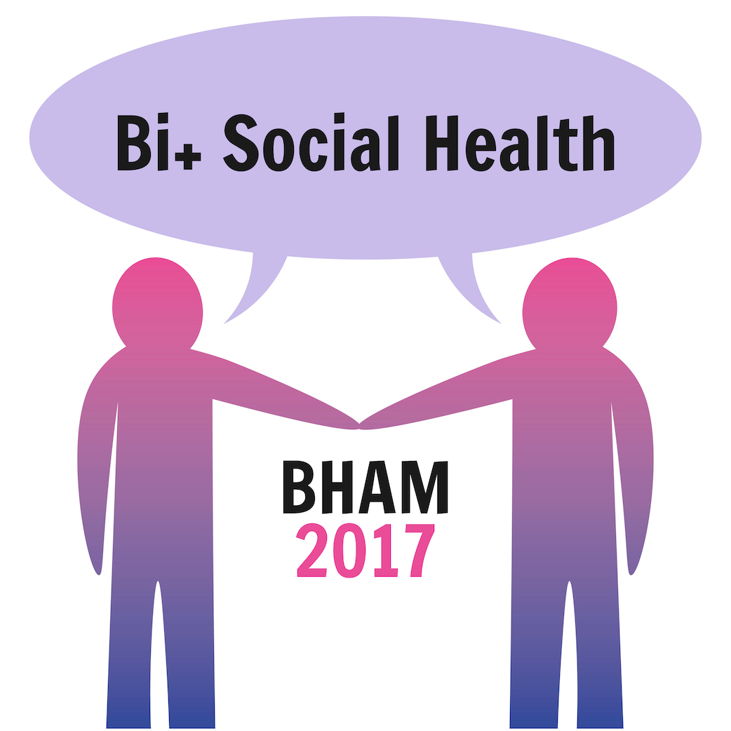 Two people who are striped in pink, purple, blue are saying Bi+ Social Health with BHAM 2017 below them