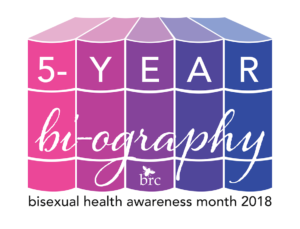 Pink, magenta, purple, indigo, and blue books with the spines saying, 5-year bi-ography and below them, bisexual health awareness month 2018